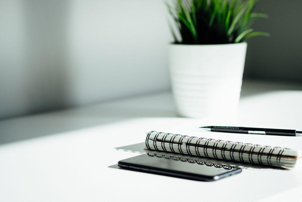Kuvituskuva: muistio ja kynä, taustalla viherkasvi